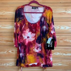 NWT Onque Casual Floral Sequence Stretch Tunic 1X